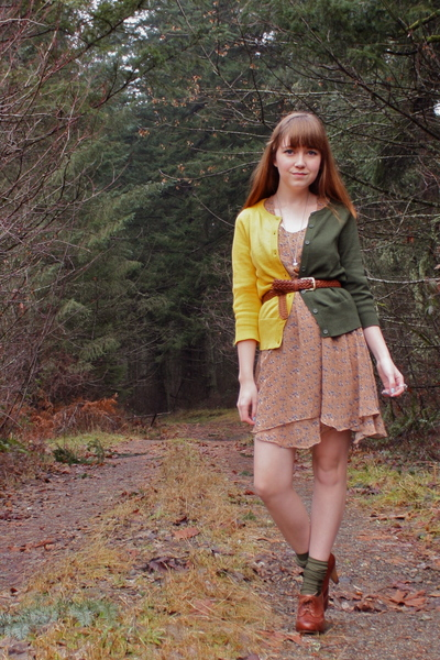 green neneee cardigan - beige modcloth dress - green Thank You Mart socks - brow