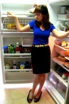 blue Forever 21 shirt - black peep toe wedge seychelles shoes - yellow belt