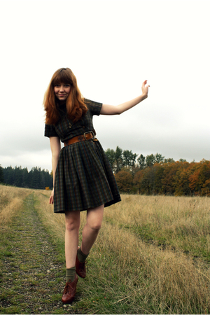 H&M jacket - vintage dress - vintage belt - socks - seychelles shoes