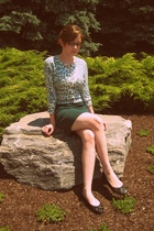 green knit pencil American Apparel skirt - black ballet flats H&M shoes