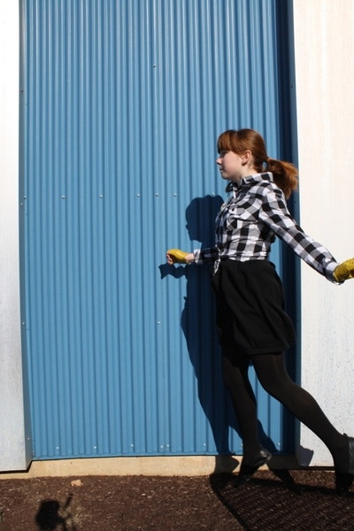 forever 21 shirt - forever 21 dress - Karmaloop gloves - Walmart tights - H&M sh
