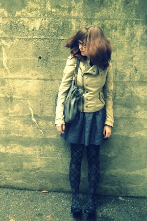 jacket - forever 21 skirt - Target tights - Vain and Vapid shirt