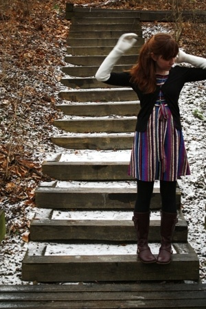 H&M coat - H&M sweater - asos dress - H&M gloves - gift tights - Urban Outfitter