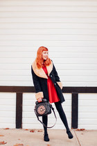 Betsey Johnson bag - modcloth dress - Sheinside coat - Trendy Legs tights