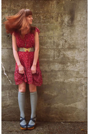 H&M dress - Thank You Mart socks - vintage belt - seychelles shoes