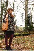 beige Forever 21 coat - black Need Supply dress - purple fred flare tights - bla