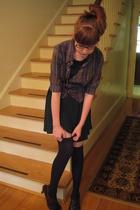 blue Sample jacket - brown woven heels Dr Scholls shoes - green H&M dress