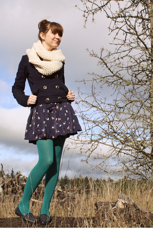 blue H&M jacket - blue Secondhand shoes - blue Forever 21 dress