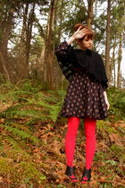 black vintage jacket - black vintage dress - red We Love Colors tights - black J