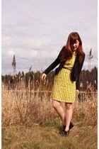 black UO jacket - yellow ice cream print dress - black UO shoes