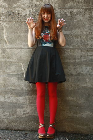black triptych dress - red We Love Colors tights - silver seychelles shoes