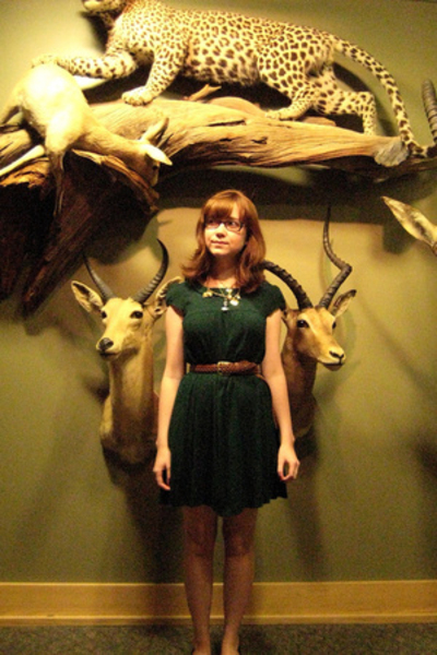 green tent H&M dress - brown shoes - brown Secondhand belt