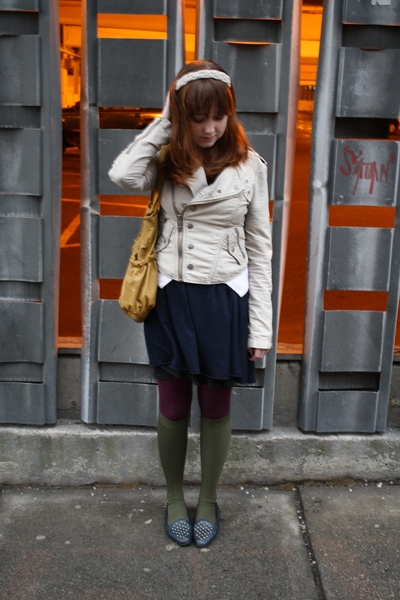 Urban Outfitters jacket - Ivy Blue dress - gift tights - Thank You Mart socks -