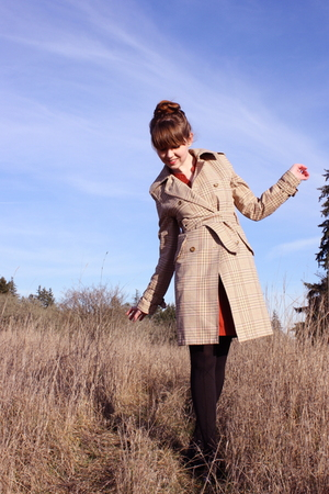 beige coat - orange Urban Outfitters dress - black Walmart tights - black Bloch