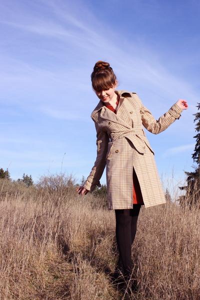 beige coat - orange Urban Outfitters dress - black Walmart tights - black Bloch