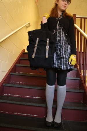H&M sweater - Urban Outfitters dress - gift tights - Thank You Mart socks - H&M