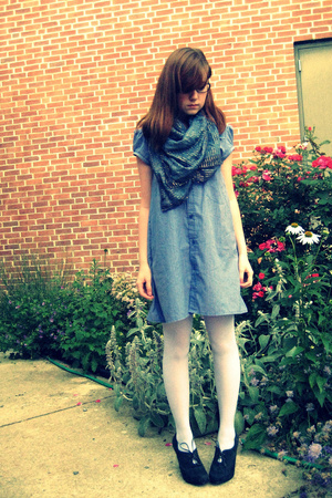 Sample dress - Secondhand scarf - We Love Colors tights - Nine West shoes