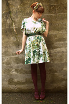 H&M dress - Secondhand belt - vintage accessories - fred flare tights - Nine Wes