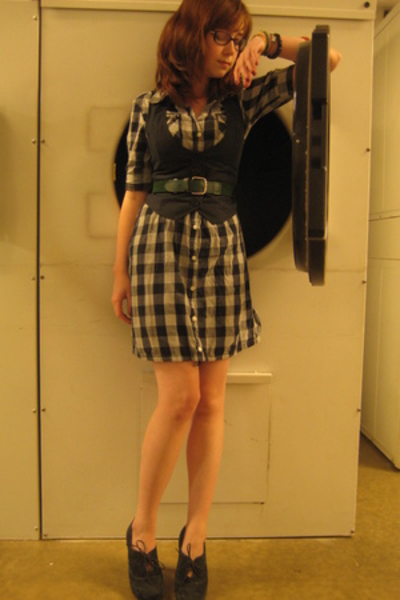 dress - H&M vest - Nine West shoes - belt