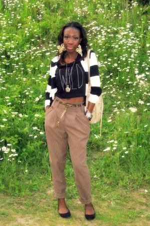 H&M blazer - wild crop top asos top - camel pants asos pants