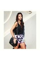 black Chanel bag - black Bracewell top - asos skirt