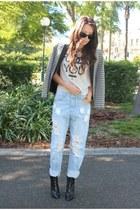 black bardot boots - asos jeans - Topshop blazer - silver vintage t-shirt