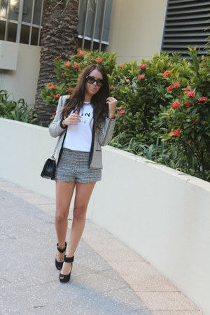 white Celine t-shirt - Zara blazer - black Chanel bag - H&M shorts