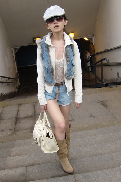 Topshop shorts - Stradivarius shoes - riverisland hat - vintage jacket