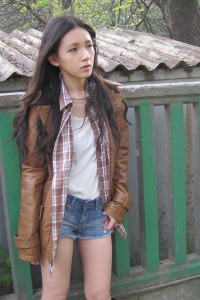 Stradivarius jacket - cotton on blouse - Topshop pants - allsaints boots