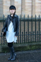 black Topshop jacket - white Zara dress - black jeffery cambell boots