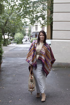 poncho H&M cape - Bianco boots - Marc Jacobs bag - GINA TRICOT top