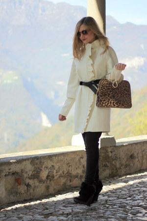 oversized Vila coat - wedged solo soprani boots - leopard print Splenderosa bag
