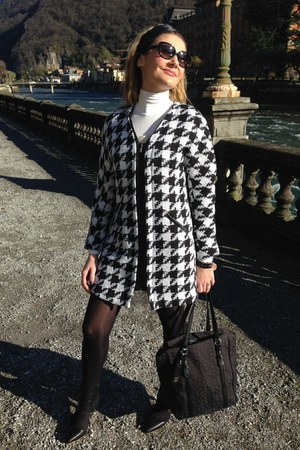 black houndstooth TB Dress coat - black calvin klein bag