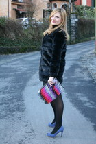 black OASAP jacket - hot pink asos bag - violet The Fab Shoes pumps