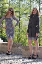 periwinkle Much money dress - heather gray Yes Zee coat - black D&B shoes pumps