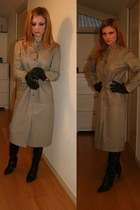 heather gray leather Giorgio Villa Firenze coat - black Mao boots