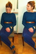 vintage belt - tezenis sweater - compagnia italiana leggings - no brand pumps