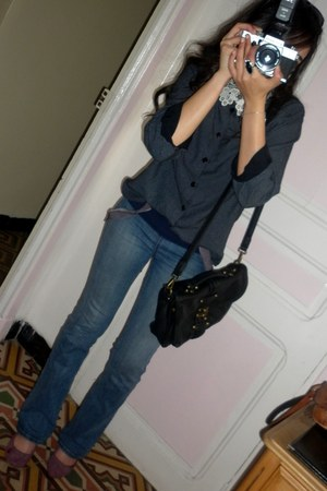 light blue Juicy Couture jeans - black david jones bag