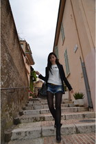 hoss intropia jacket - givency bag - Zara shorts - Celine t-shirt