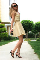 black zeroUV sunglasses - cream asos dress - black Marjin heels