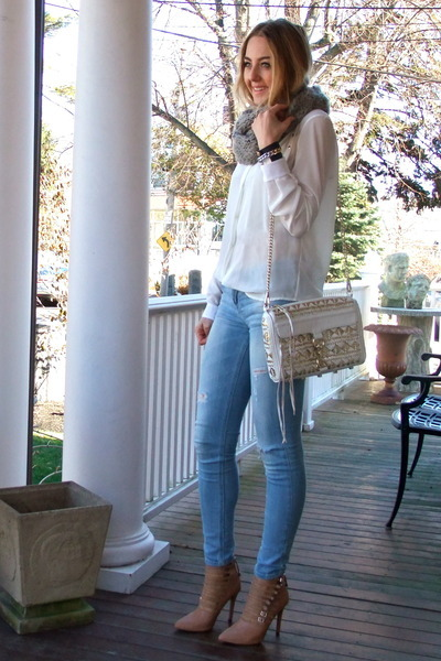 gold Rebecca Minkoff bag - white silk Evocha shirt