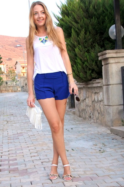 white fringed BangGood bag - blue Zlz shorts - silver mirrored zeroUV sunglasses