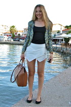 olive green sequin Mango blazer - burnt orange Zara bag
