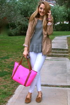 bubble gum tote kate spade bag - camel trench coat Sheinside coat