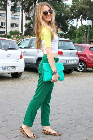 green Mango pants - aquamarine LC Waikiki bag - brown zeroUV sunglasses