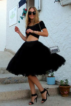 black Chicwish sunglasses - black Mango sandals - black tutu Chicwish skirt
