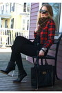 Black-jessica-buurman-boots-red-tartan-persunmall-jacket