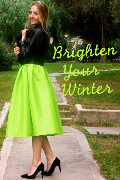 3991ea7b09 lime green midi Choies skirt - black leather Forever 21 coat - black Mango  bag