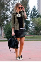 gold glitter kate spade sneakers - olive green military Zara coat