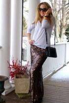crimson sequined Jessica Buurman skirt - black Michael Kors bag